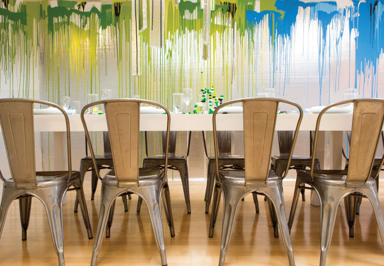 The Rinehart Dining Room - features a 89' drip painting by Meyer.