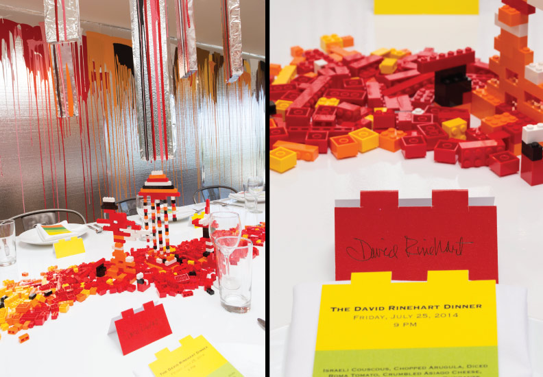 The Rinehart Dining Room - 6,850 Legos were used as center pieces - guests mainly architects were encouraged to build objects. The place cards and menus were inspired by the Legos.