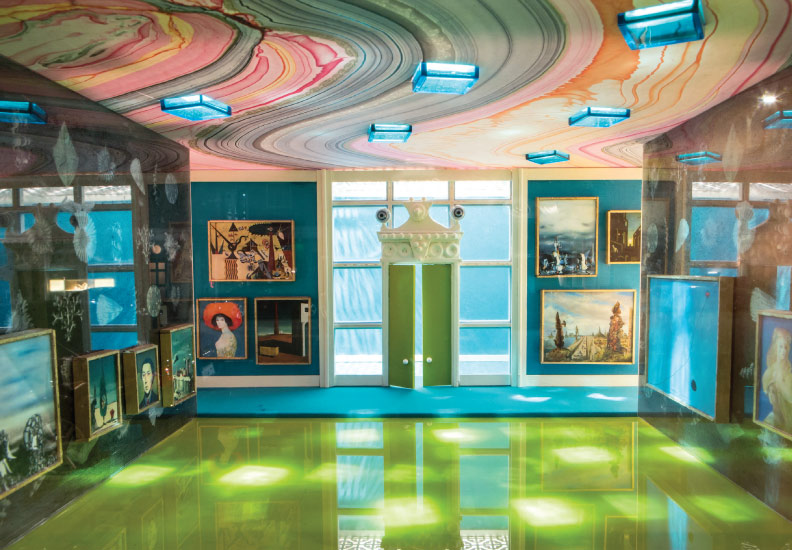 Enright House - is an intricate universe created that tells the story of the fictitious building through dioramas, memorabilia, cases and didactic's - all created by Meyer. Shown here: The Cha Cha Room on the 22nd floor - home of Julia Biddle.