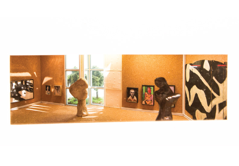 Enright House - Private Gallery (designed by Donald Deskey - the walls, floors and ceiling were made with cork. Works by Franz Kline, Walt Kuhn, William deKooning, Reg Butler and Jean Arp are in view).  Fourth diorama of this fictitious world.