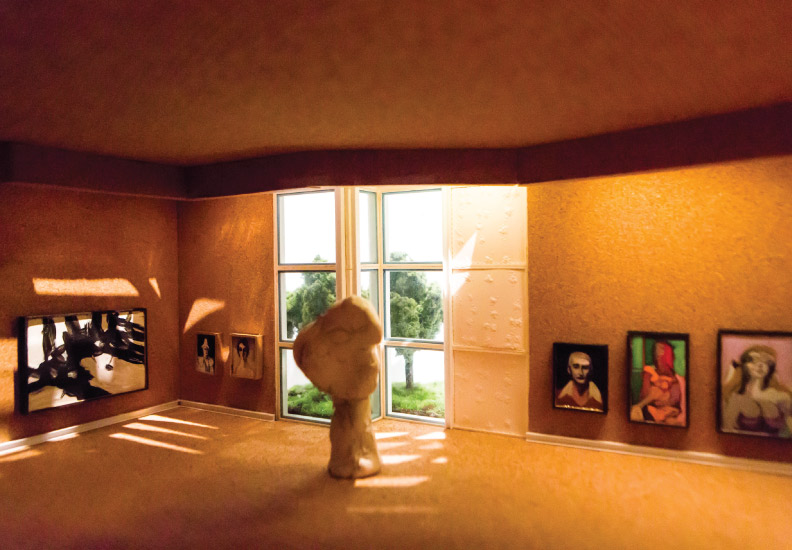 Enright House - Private Gallery (designed by Donald Deskey - the walls, floors and ceiling were made with cork. Works by Franz Kline, Walt Kuhn, William deKooning and Reg Butler are in view).  Fourth diorama of this fictitious world.