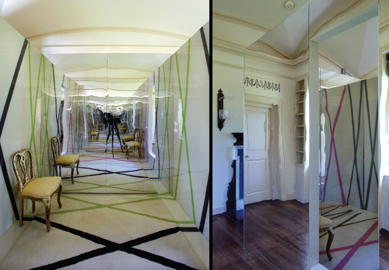 "The Cube - located in the Whim House at Longue Vue House and Gardens, New Orleans. A mirrored box containing a room within a room. The interior creates an infinity wall that reflects the graphic ""X"" patterns on the floor and walls."