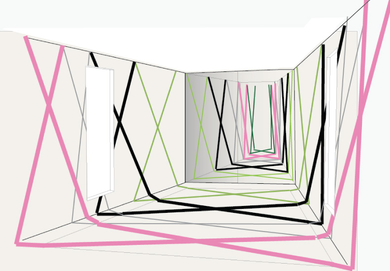 Preliminary drawing for The Cube - located in the Whim House at Longue Vue House and Gardens, New Orleans. A mirrored box containing a room within a room.