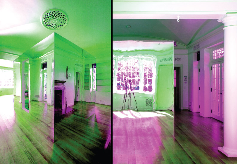 The Cube - located in the Whim House at Longue Vue House and Gardens, New Orleans. A mirrored box containing a room within a room. Shown with various colored lights created for night effects.