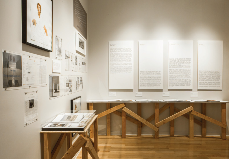 Designed exhibition and co-curated - Floating Man: The Sketchbook Drawings of David Rinehart. July 25 - September 14, 2014. Palos Verdes Art Center. Far wall contains exact facsimiles of the 4 sketch books for public viewing.