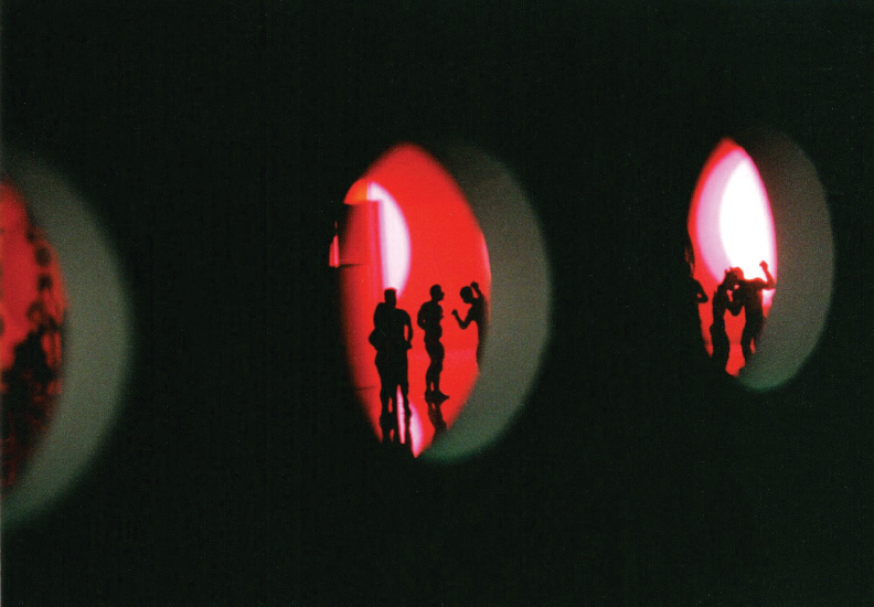 BOD (Broadway on Duane) September 6 - October 18, 2003. Rocket Projects, Miami. Inside the Black Maze where the viewer can peek through portals at tiny sets from the imaginary 1980s nightclub.
