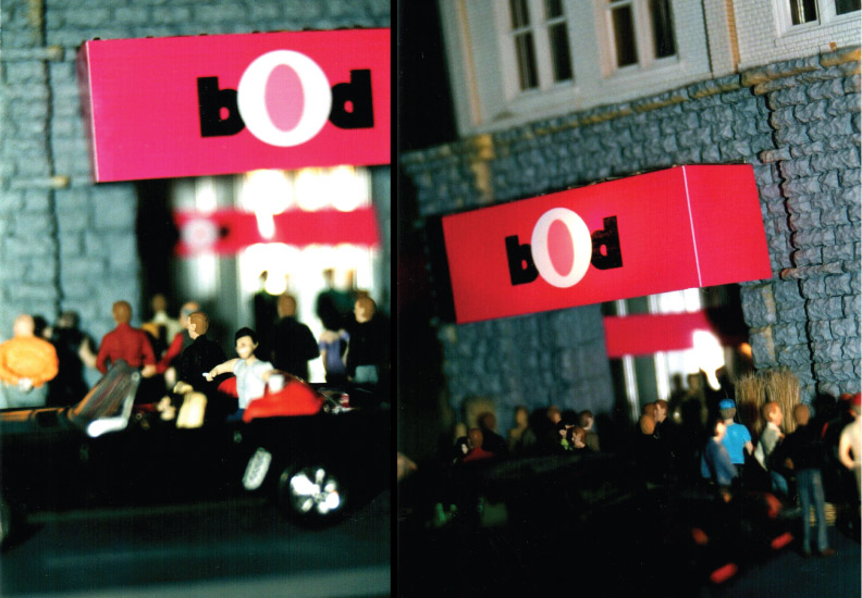 "BOD (Broadway on Duane) September 6 - October 18, 2003. Rocket Projects, Miami. (left) ""Opening Night #9"", 2002, C-print. (right) ""Opening Night #77, 2002, C-print."