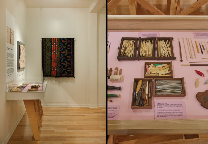 Curated and designed exhibition - Acquired Objects: textiles, tools and notions. The Judith Solomon Collection. October 10 - January 4, 2015. Custom cases created out of saw horses cut in half. Objects shown in cases recreated layout in catalog.