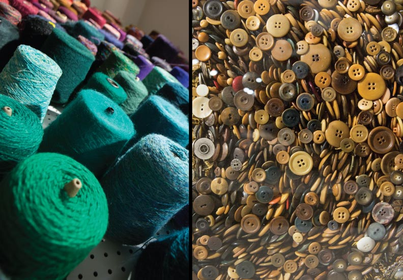 Curated and designed exhibition - Acquired Objects: textiles, tools and notions. The Judith Solomon Collection. October 10 - January 4, 2015. Three hundred spools of yarn and over 20,000 buttons were used in the exhibition.