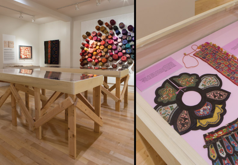 Curated and designed exhibition - Acquired Objects: textiles, tools and notions. The Judith Solomon Collection. October 10 - January 4, 2015. Cases were created with 2 x 4's and plywood with plexi-glass tops.