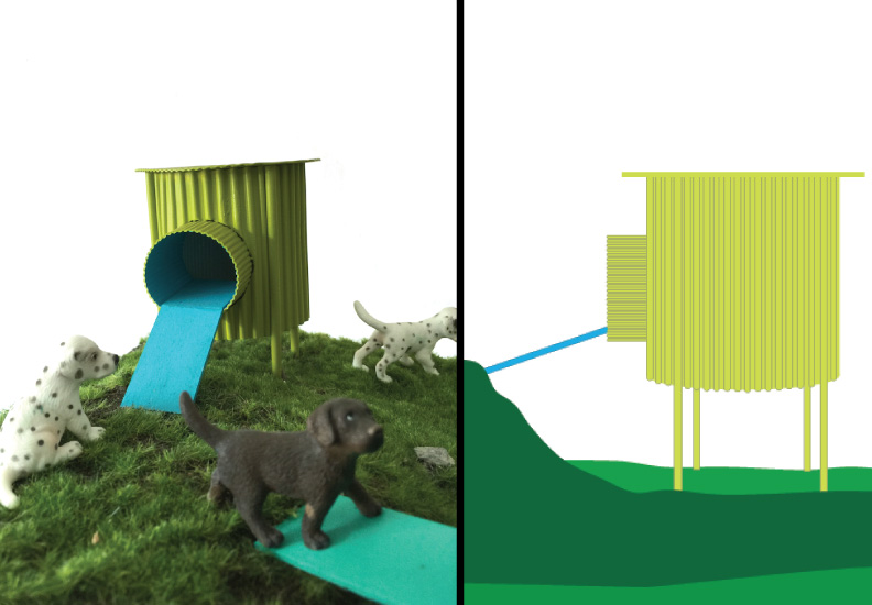 Dog Houses: The Corgi House (left) scale model, (right) working drawing - side view.