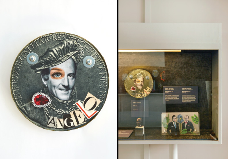 "Hero Portraits created for Dining by Design DIFFA 2015. Angelo Donghia (March 7, 1935 - April 11, 1985) ""Le Roi!"", 2015. Cardboard, paper, brass, rhinestones."