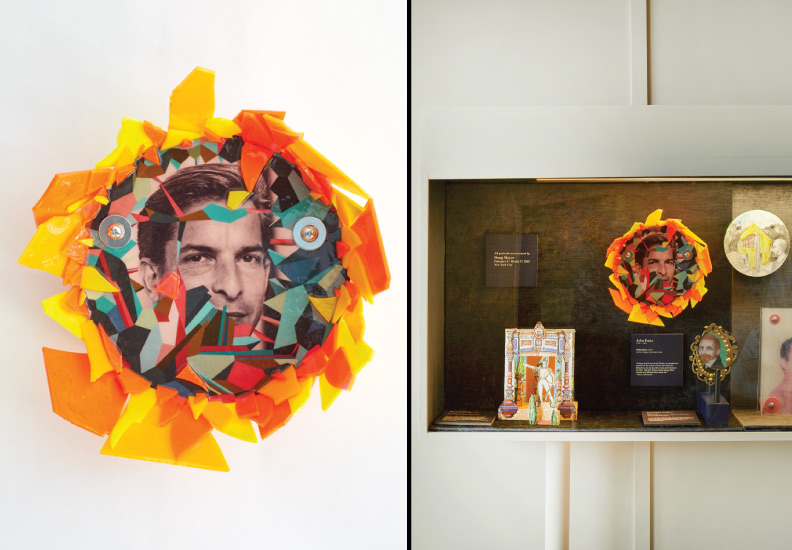 "Hero Portraits created for Dining by Design DIFFA 2015. John Duka (1950 - 1989). ""Helianthus"", 2015. Photo collage, color plexi-glass, resin."