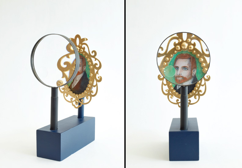 "Hero Portraits created for Dining by Design DIFFA 2015. Harrison Cultra (1941 - 1983). ""Dandy"", 2015. Color pencil, wood frame, beads, oil, plexi-glass, wood, magnifying glass."