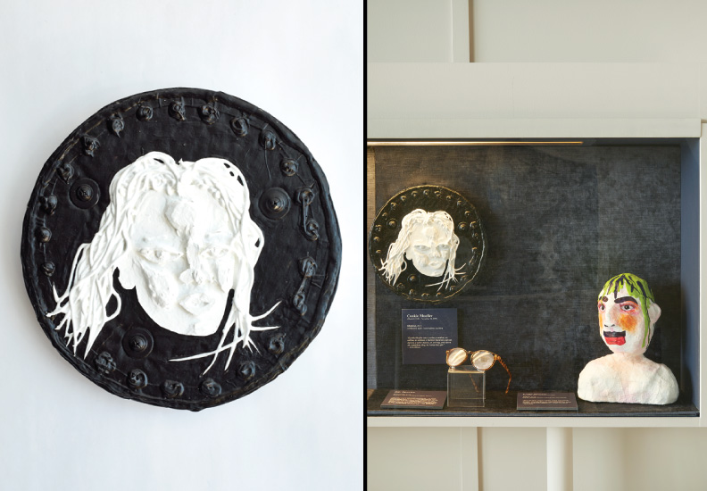 "Hero Portraits created for Dining by Design DIFFA 2015. Cookie Mueller (March 2, 1949 - November 10, 1989). ""Medusa"", 2015. Cardboard, paint, liquid rubber, caulking."
