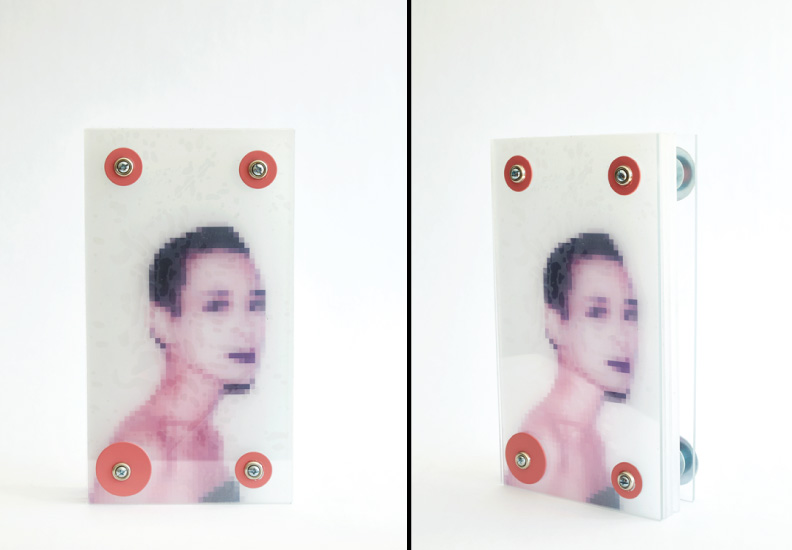 "Hero Portraits created for Dining by Design DIFFA 2015. Tina Chow (April 8, 1950 - January 24, 1992). ""Pixelated Tina"", 2015. Photo collage, plexi-glass, resin."