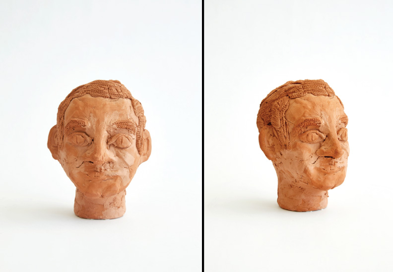 "Hero Portraits created for Dining by Design DIFFA 2015. Jacques Demy  (June 5, 1931 - October 27, 1990). ""Viva"", 2015. Terra-cotta."