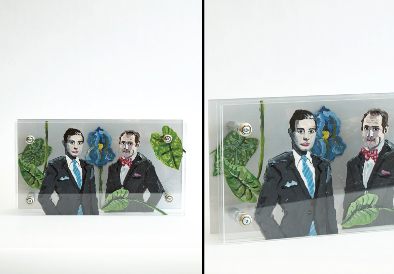 "Hero Portraits created for Dining by Design DIFFA 2015. (left) Vincent Fourcade (February 27, 1934 - December 23, 1992). (right) Xavier Fourcade (September 20, 1926 - April 28, 1987). ""Brothers Fourcade"", 2015. Plexi-glass panels, paint, hardware."