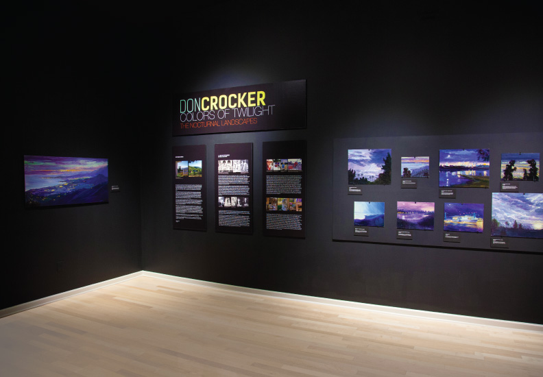 Curated and designed exhibition - Don Crocker: Colors of Twilight - The Nocturnal Landscapes. January 24 - March 16, 2014. Palos Verdes Art Center.